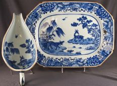 Large meat platter and gravy boat, with identical pattern of deer with calf and water buffalo – China – 18th century