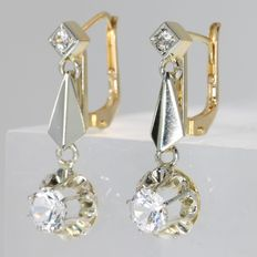 Art Deco inspired bicolour gold earrings with diamond imitations from the fifties