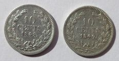 The Netherlands – 10 cents 1848 and 1849 Willem II – silver