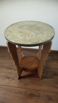 Beautiful oak table with decorated copper top, ca. 1930