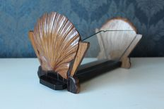 Letters holder made of wood with glass in the form of two shells - England - First half of 20th century