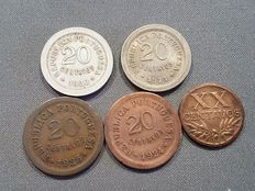 Portugal – 5 coins of 20 centavos – 1920 to 1948 – Lisbon