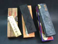 Three decorated vintage ink sticks - China/Japan - second half 20th century