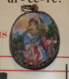 Hand painted miniature of Saint Catherine of Alexandria (after the sword that she holds in her hand) - Belgium - 18th century
