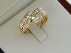 Fine jewellery ring in yellow gold, diamonds of 1.45 ct - finger size 57