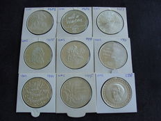 The Netherlands, 50 guilder coins 1982/1998 (9 different ones), complete.