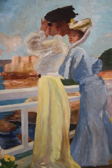 A. Maignon (20th C.) - Ladies overlooking the sea