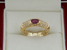 18 kt Yellow Gold Ring with Ruby and Diamonds - Size 54 - Easy to adjust