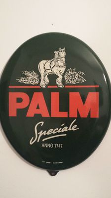 Antique oval plate in enamelled metal beer PALM spéciale - Belgian enamelling - 2nd half of the 20th century