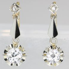 Shining Art Deco inspired bicolour gold white sapphire earrings from the fifties