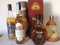 4 bottles - Glen Garioch 8, Prince of Wales 50th Anniversary Normandy Landings, Bells Decanter & Dimple 15 years old