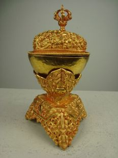 Gold plated kapala - Nepal - second half of the 20th century