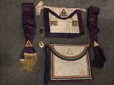 Collection of Masonic medals Scarfs aprons