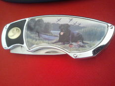 Franklin Mint pocket knife , collector's knife,  black Labrador,