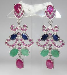 Silver earrings with natural ruby, emerald and sapphires.