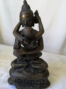 Buddha in Yab Yum (bronze figurine) - Nepal - 2nd half of the 20th century
