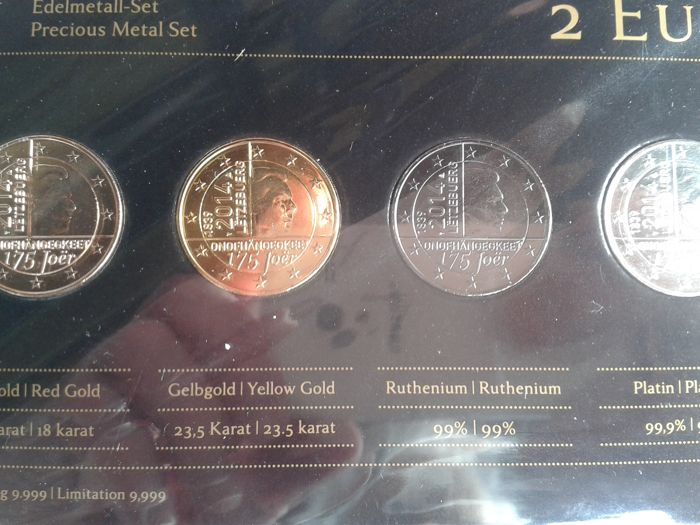 Luxembourg - 2 Euro '125 Years of Independence' 2014 (4 different plated coins) - Precious Metal Set