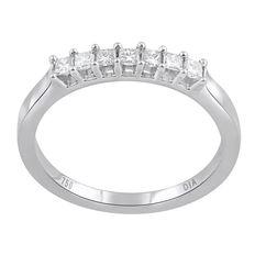 18kt white gold eternity band with 7 princess cut diamonds in a claw setting 0.33ct total weight  (7x 0.075ct). Size 54/N (free resizing in Antwerp available)