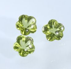 Set of 3 Peridots -  1.26 + 1.20 + 1.30 =  3.76 ct total