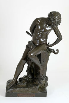 Félix Maurice Charpentier (1858-1924) -  Bronze sculpture titled 'Faune au Lézard' - France - late 19th century.