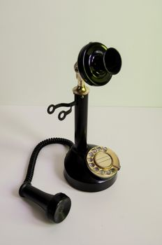 Antique telephone with loose horn and brass dial - 2nd half of 20th century.