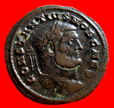 Roman Empire -  Constantius I caesar (293 - 305 A.D.) bronze large  follis (8,97 g. 21 mm.). Carthago mint. (297 A.D.) FELIX ADVENT AVGG NN / Γ / PKT, Africa. Scarce.