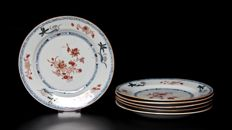 Six Fine Chinese Iron-Red and Gilt Plates - China - 18th century