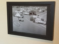 Jacky Ickx and Jackie Stewart - Beautiful large framed photo signed by both + COA.