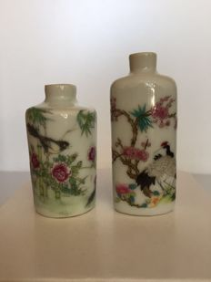 Two porcelain Snuff bottles - china - mid 20th century