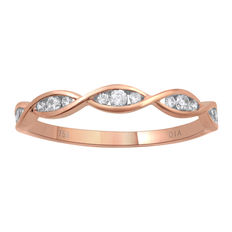 18Kt. pink gold eternity ring set with diamonds 0.18ct., G colour, SI clarity in a twist fashion style with channel setting  Size 54/N (free resizing in Antwerp)