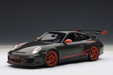 AUTOart - Scale 1/18 - Porsche 911 type 997 GT# RS 3.8 - Colour: Grey with red stripes