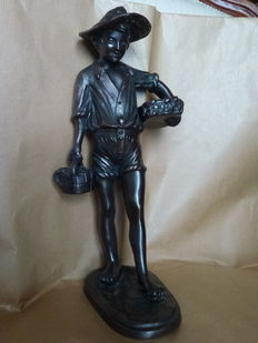 """""""Fisher boy with baskets of fish"""", bronze sculpture - Italy, second half of the 20th century"""
