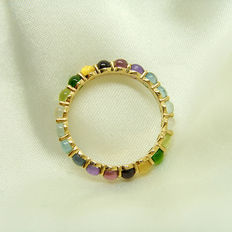 14K gold  ring with 2ct of gems, size:HK 13#, US 6.5,width:2.5mm