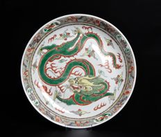 Very Rare Famille Verte Plate - China - 19th Century.