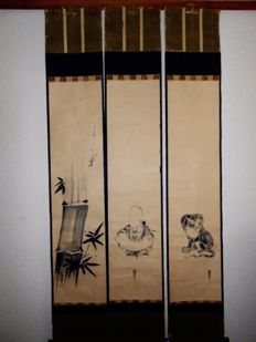 "Triptych scroll set by ""Kano Yasunobu"" - Japan - 1613 - 1685"