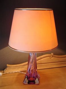Val St Lambert crystal table lamp and vase - First half of 20th century - Belgium