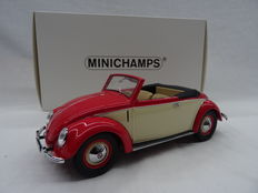 Minichamps - Scale 1/18 - Volkswagen Beetle Convertible Hebmuller 1949 - Colour: Red/Cream