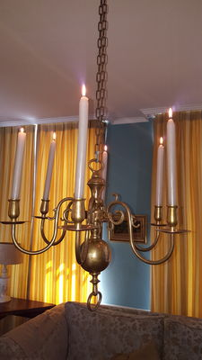 Heavy candles chandelier with six arms - brass - Netherlands - mid 20th century
