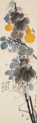 hand-painted scroll painting after Wang Xuetao - China - second half 20th century