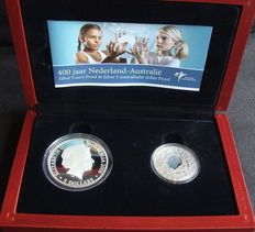 "The Netherlands and Australia – coin set with 5 Euros and 5 dollars 2006 ""400 years the Netherlands-Australia"" – silver."