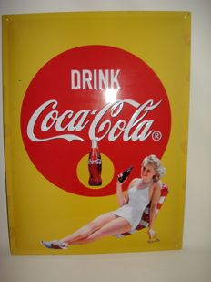 Pin Up Girl - Coca-Cola Advertising Sign - Metal - Limited Edition - 2nd half 20th century