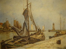 Wouter Keizer (1881-1978)-port of Enkhuizen Zuiderzee with botter