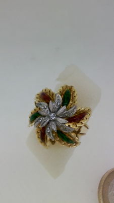 Enamel and gold flower ring
