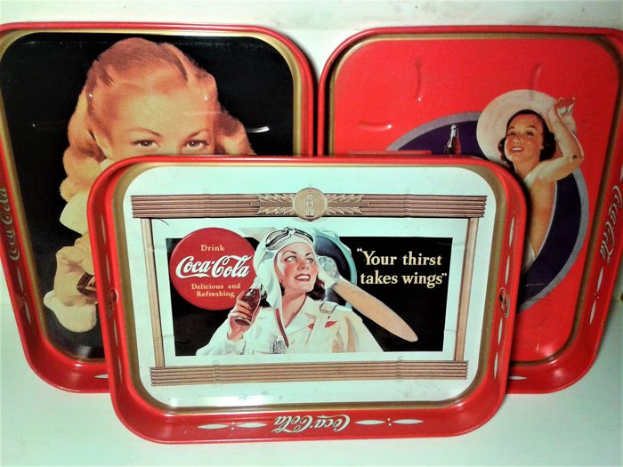 Vintage  Beautiful set of 3x Coca Cola Tray from USA  Signed  - Catawiki