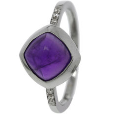 14k white gold women's ring, set with amethyst and diamond, ring size 17.5
