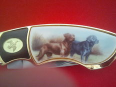 Franklin mint pocket knife , collector's knife,  Labradors