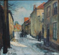 Leo Mechelaere (1880 - 1964) - Brugse winterstraat