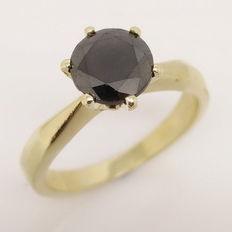 Ring with 1.43 ct round black diamond - 18 kt gold - Size 52 mm