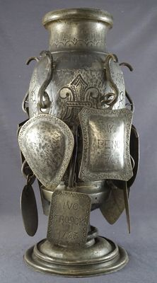 Large pewter cup with many medallions of citizen's guild, gift of Baron d'Haene -Belgium-1761