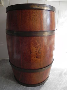 An antique oak bucket barrel with brass bands for walking sticks - From around 1900